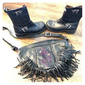 Harley Davidson boots w/ leather purse